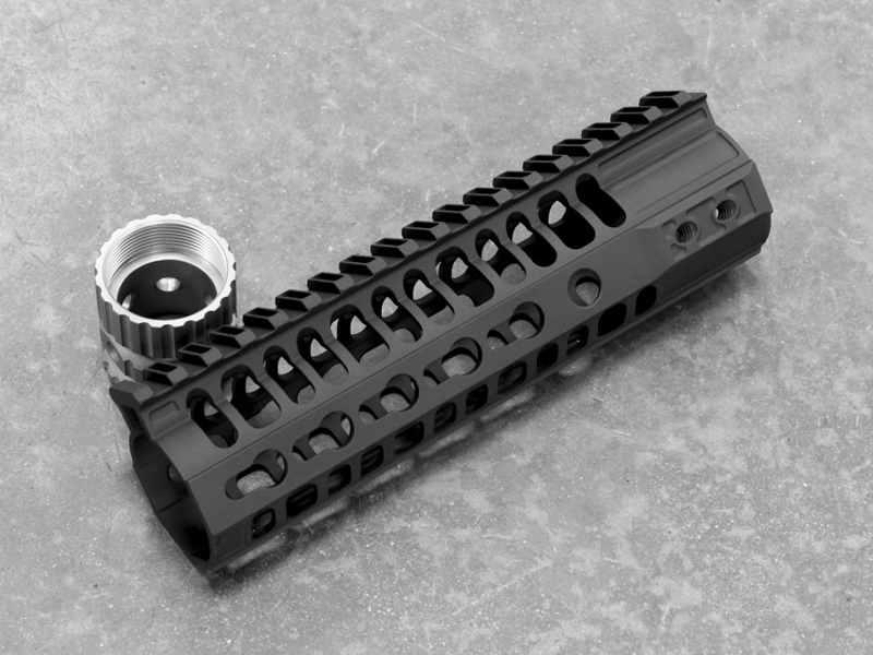 2A Armament 7 Inch Black KeyMod Balios Lite Handguard With Titanium Barrel Nut For AR15 Style 5.56/.223 Rifles