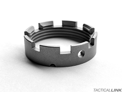 V7 Weapon Systems Gen 2 Ultra Light Titanium Castle Nut For AR15 Style 5.56/.223 Rifles - Raw Titanium Finish